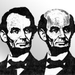 Lincoln with and without hair