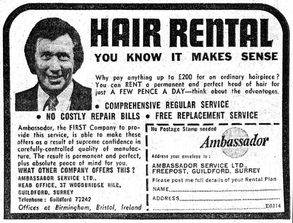 Hair rental ad 1973